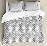 Poker King Size Duvet Cover Set by Lunarable, Monochrome Doodle Style Suits of Cards Spades Hearts and Clubs Gambling Pattern, Decorative 3 Piece Bedding Set with 2 Pillow Shams, Black White