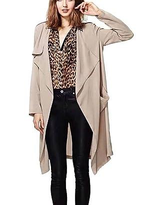 OURS Women's Thin Loose Laple Open Front Long Trench Coat Outerwear (M, Khaki)