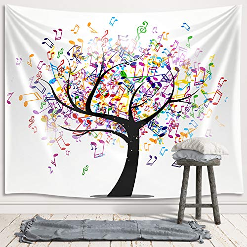 JAWO Music Life Tree Tapestry Wall Hanging, Colorful Abstract Note Musical as Leaves Tapestries for Dorm Living Room Bedroom, Wall Blanket Beach Towels Home Decor 71X60 Inches