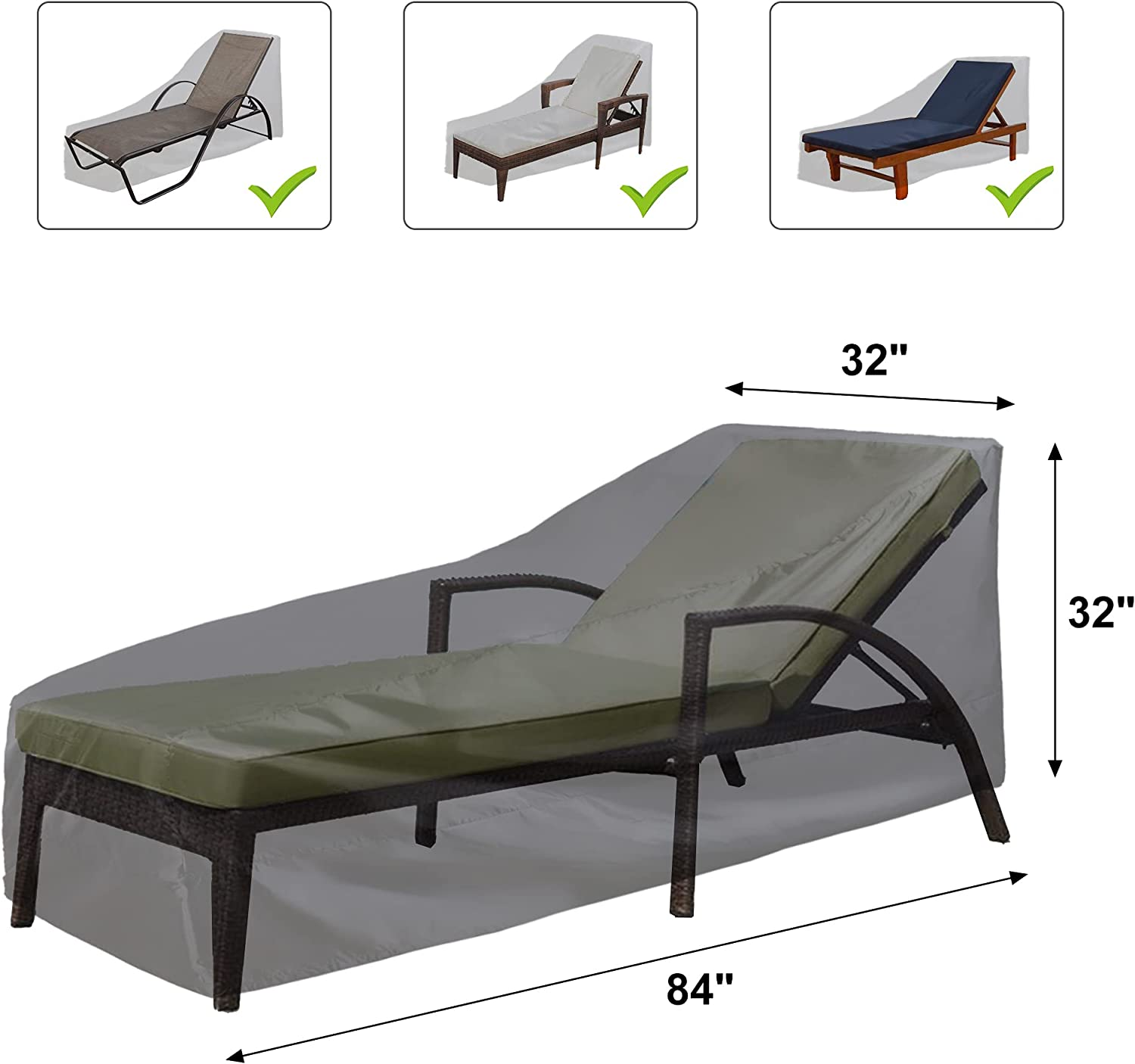 Chaise Lounge Cover, ALSTER Patio Furniture Covers Waterproof(84
