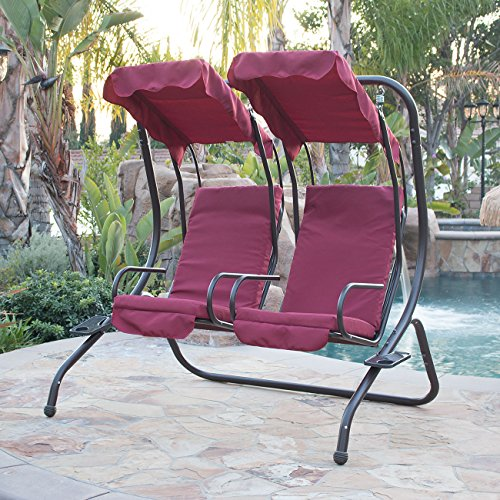 Belleze 2 Person Outdoor Patio Swing Set Armrest Cup-Holder Steel Seat Padded w/ Canopy (Burgundy)