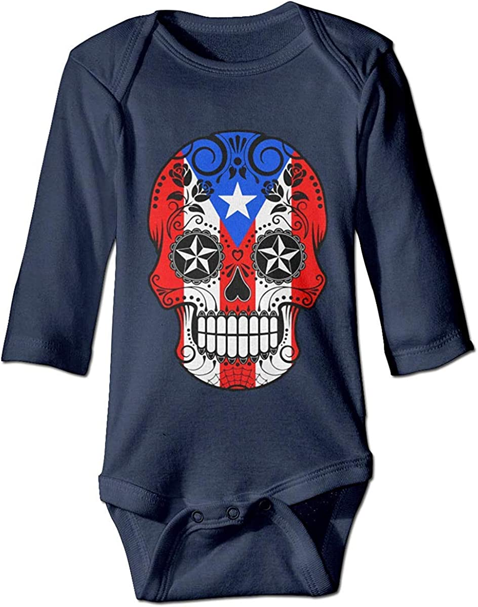 WlQshop Mono para Bebé,Mameluco Bebé Unisex Sugar Skull with Roses and Flag of Puerto Rico Newborn Baby Boys Long Sleeve Bodies Romper Jumpsuit