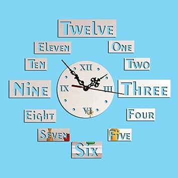ffeei Acrílico Espejo Decoración Reloj De Pared 3D Creativo Bricolaje Pegatinas De Pared Inglés Números Fondo De La Pared,MirrorSilver: Amazon.es: Hogar