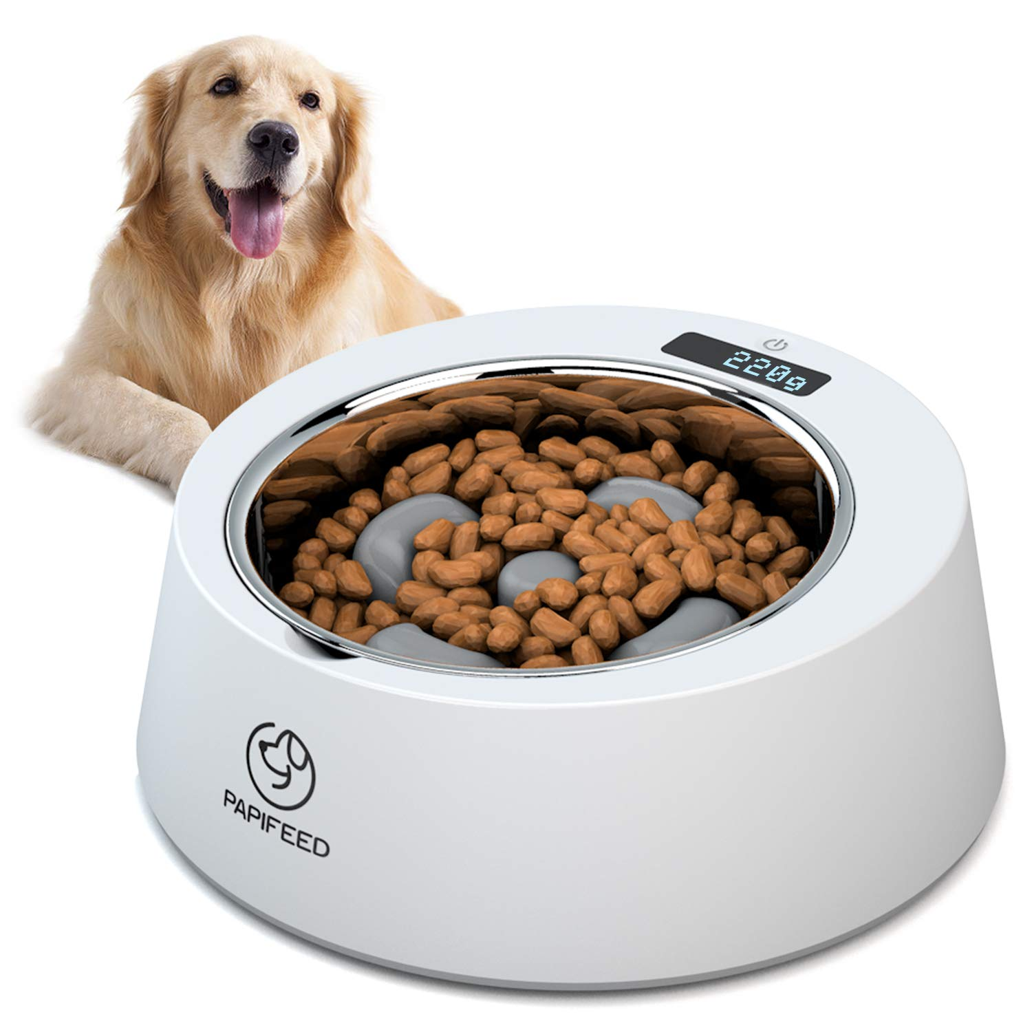 PAPIFEED Slow Feed Dog Bowl, Multifunctional Digital Scale Pet Feeder, Accurate Smart Weighing Stainless Steel Dog Bowls, Non Slip Interactive Slow Feeder for Small Medium Dogs Cats by PAPIFEED