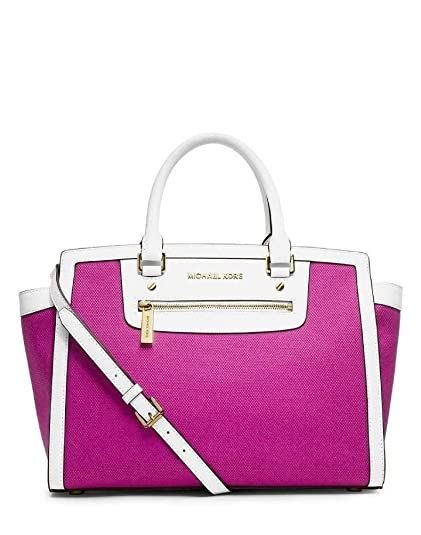 8b55699fc2f97 Michael Kors Selma Zip Large Top Zip Satchel Fuschia  Amazon.co.uk ...