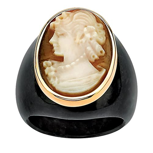 10K Yellow Gold Classic Cameo and Black Natural Onyx Ring