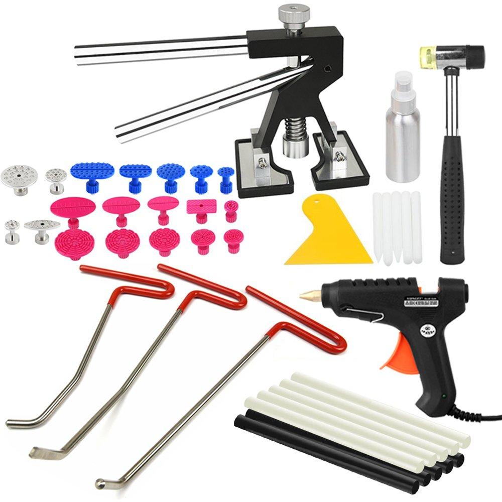 PDR Rod PDR Tools Paintless Dent Repair Tools Dent Removal Kit Mini Dent Lifter Glue Puller Tabs PDR Hot Melt Glue Gun PDR Glue Sticks Car Hail Damage And Door Dings Repair
