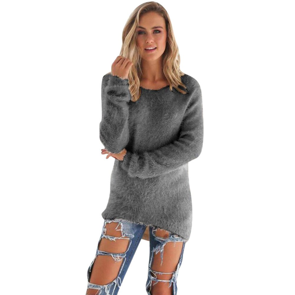 Brezeh Women Long Sleeve Pullover Loose Knitted Sweater Jumper Knitwear Tops
