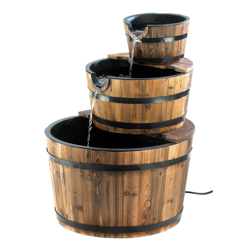 Rustic Three Tier Apple Barrel Outdoor Water Fountain Furniture Creations SLC-13841