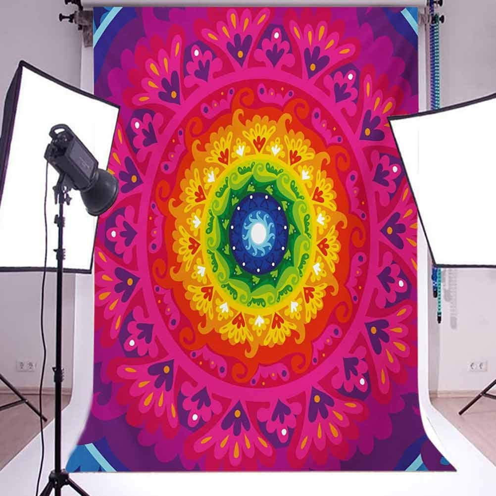 Purple 10x15 FT Photo Backdrops,Hippie Circular Rainbow Spiral Inside Figure Hipster Artwork Background for Kid Baby Boy Girl Artistic Portrait Photo Shoot Studio Props Video Drape Vinyl Multicolor