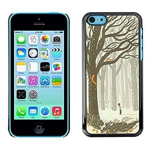 X-ray Impreso colorido protector duro espalda Funda piel de Shell para Apple iPhone 5C - Drawing Boy Art Forest Tree