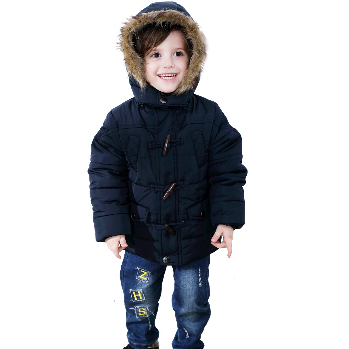 Bebone Kid Boys Fur Hooded Horn Puffer Duffle Coat