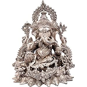 Exotic India Bhagawan Ganesha - Brass Statue - Color Alluring Silver Color 31