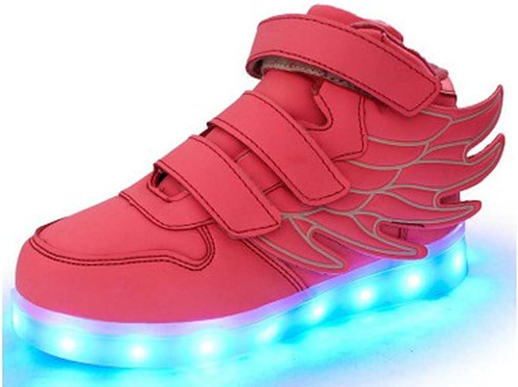 Littlepanda Kid Girl LED Light up Sneaker Athletic Wings Shoe High Student Dance Boot USB Charge