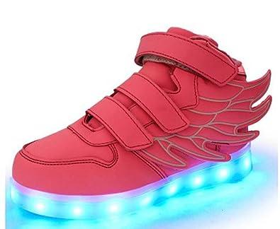3d5f20126c5e Littlepanda Kid girl LED light up sneaker athletic wings shoe High Student  dance Boot USB Charge