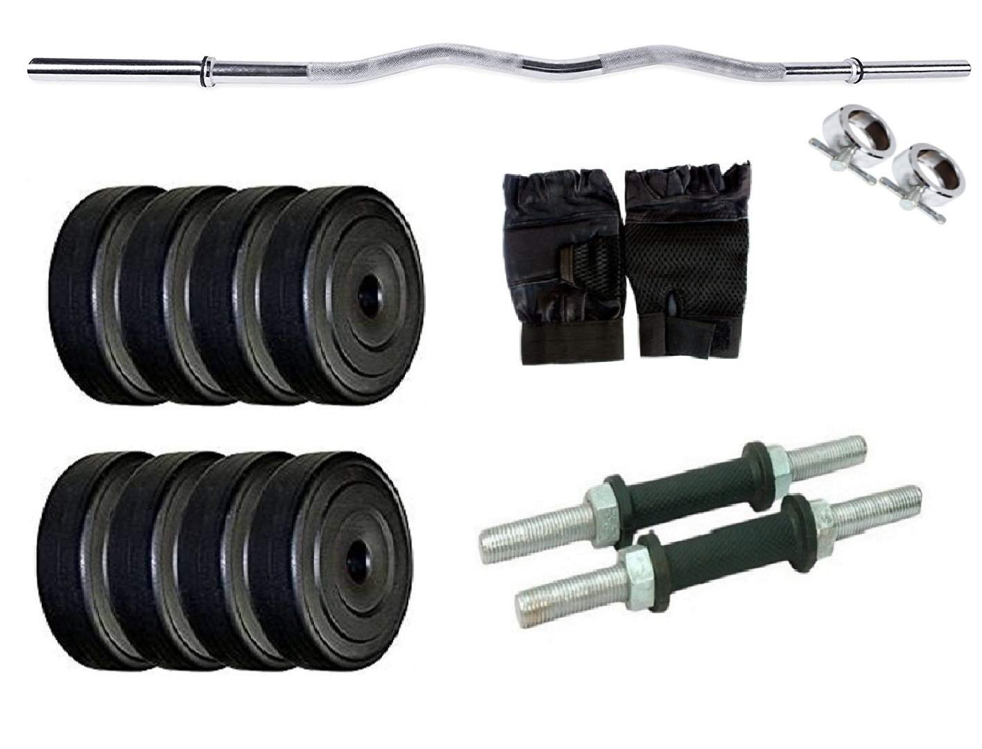FACTO POWER Home Gym with Weight Plate Combination : 18 Kg. (2.5 Kg. X 4 = 10 Kg. + 2 Kg. X 4 = 8 Kg.), Dumbell Rods, Curl Rod, Rod Locks& Gym Gloves