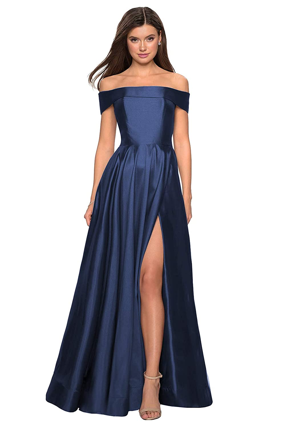 YORFORMALS Womens Off The Shoulder A-line Satin Long Evening Prom Dress Formal Ball Gown with High Slit