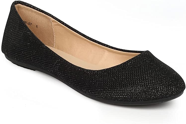 REFRESH Women Glitter Shimmer Round Toe Slip On Ballet Flat CG89