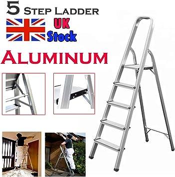 Escalera de plataforma de aluminio de 5 peldaños, escalera plegable y ligera, 150 kg de carga máxima: Amazon.es: Bricolaje y herramientas