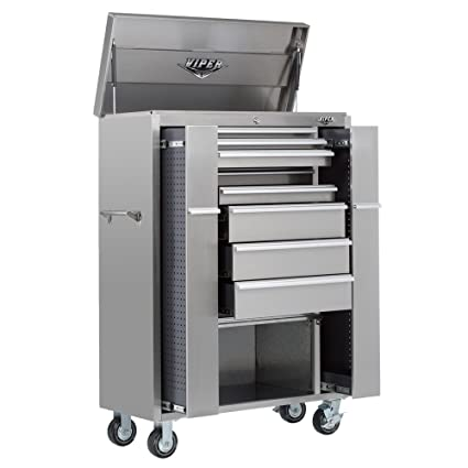Viper Tool Storage V4108UBSS 41 Inch 8 Drawer 18G Stainless Steel  Rolling Inch