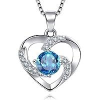 Collier Femme Argent 925 en Zirconium cubique Pendentif Coeur Amour Cadeau avec Paquet exquis