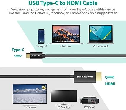 USB Tipo-C Cable a HDMI de RAVPower para Samsung Galaxy S8, MacBook, Chromebook y más, Cable USB C con Thunderbolt 3 y Dual 4K 60Hz Pantallas Soporte para medios y juegos (18 +