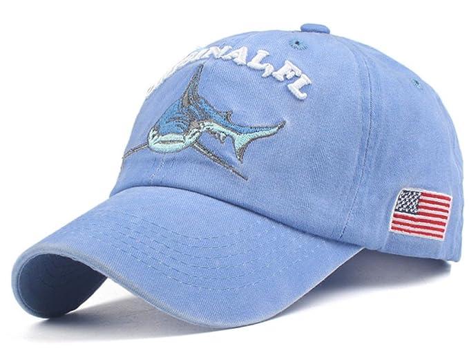Roffatide Hombre Mujer Bordado de Tiburón Gorra Béisbol Azul ...