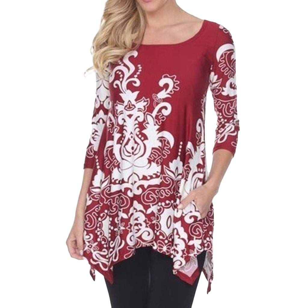 OTINICE Plus Size Women Tops 3/4 Sleeve Floral Loose T-Shirt Summer Vintage Casual Clothing Red