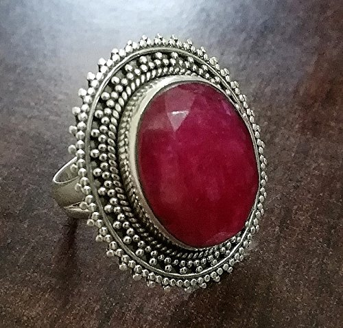Ruby Ring.. Sterling Silver Ring..July Birthstone..Antique Ring, Vintage Ring, Fashion Ring, Festival Ring, Trending Ring, Tribal Ring, Red Color Ring, Engagement Ring, Anniversary Ring, Cabochon Ring, Gypsy Ring, Middle Eastern Style, Occasion Ring, Party