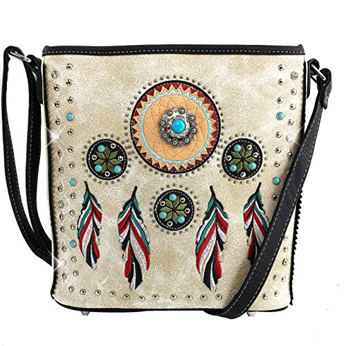 Justin West Tribal Dream Catcher Feather Embroidered Studded CCW Concealed Carry Shoulder Cross Body Handbag Wallet (Beige Messenger Bag ONLY)