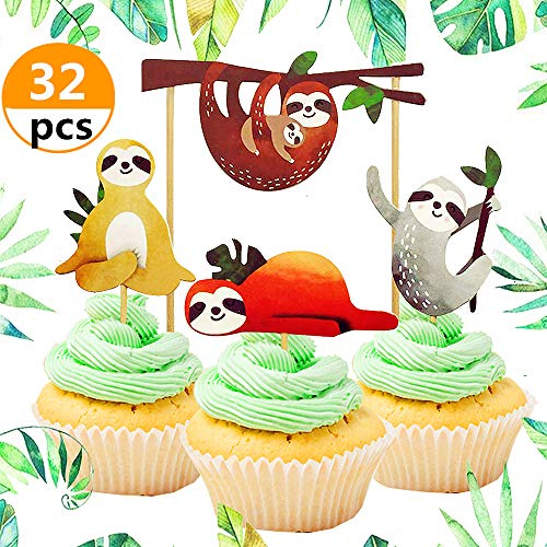 32 Pcs JeVenis Cute Sloth Cupcake Toppers Sloth Cake Decoration for Zootopia Baby Shower Birthday Party Supplies