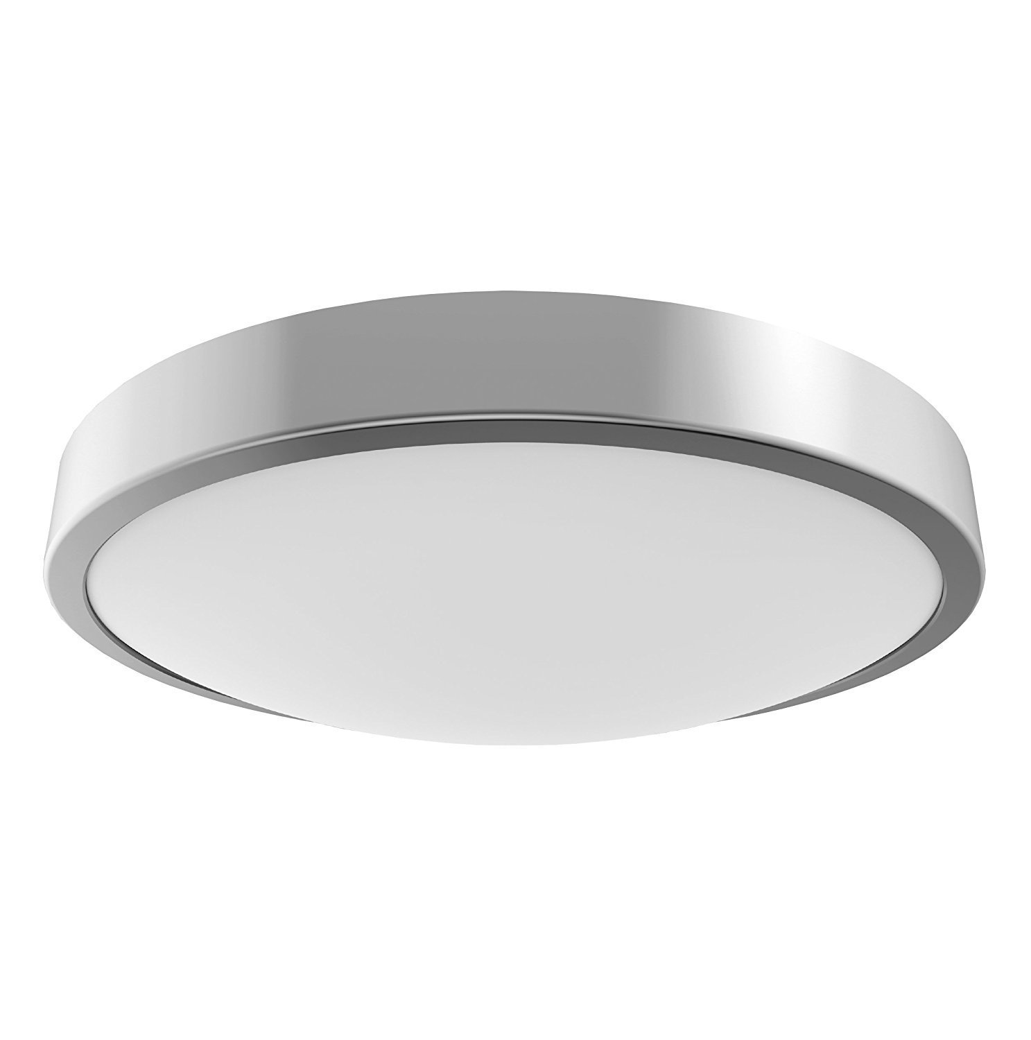 Silver LED Flush Ceiling Light Fitting ~ IP44 Rated ~ Suitable for Bathrooms (Zone 1 2 & 3) PowerSave®
