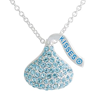 Amazon hershey kiss aquamarine charm pendant with chain 18 hershey kiss aquamarine charm pendant with chain 18quot silver tone mozeypictures Image collections