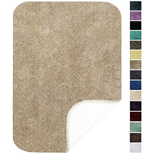 Maples Rugs 20″ x 32″ Non Slip Washable Bath Mat [Made in USA] Soft & Quick Dry for Vanity and Shower, Beige