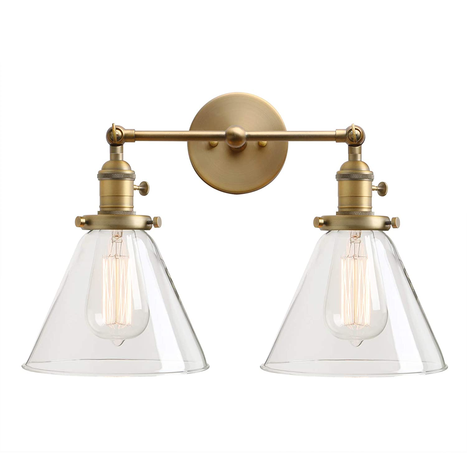 Permo double sconce vintage industrial antique 2 lights wall sconces with funnel flared glass clear glass shade antique