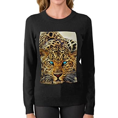 65b566e40416 Mr.Roadman Women's Leopard 3D Photos DIY Personalized Print Fashion Long  Sleeve Sweater Jumpers Pullover at Amazon Women's Clothing store: