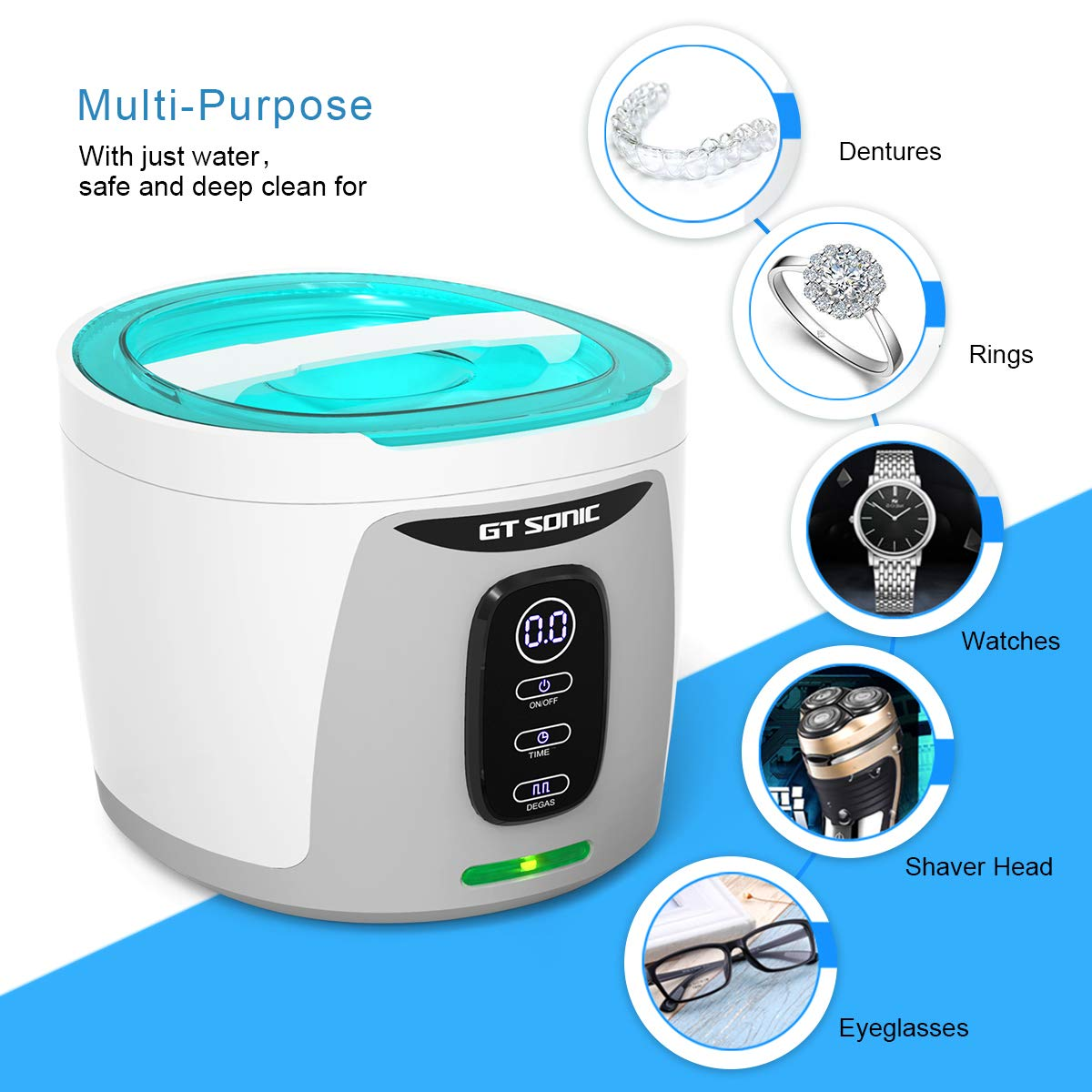 GTSONIC Ultrasonic Cleaner Jewelry Glasses Dentures Professional Detachable Cleaning Machine, 4 Timer Cycles Auto-Off, 26 OZ, 35 W by GTSONIC (Image #5)