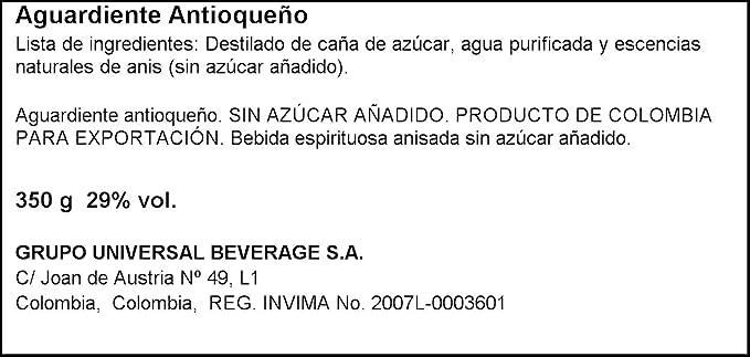 Aguardiente antioqueño sin azúcar botella 350 ml fábrica de licores de antioquía: Amazon.es: Alimentación y bebidas