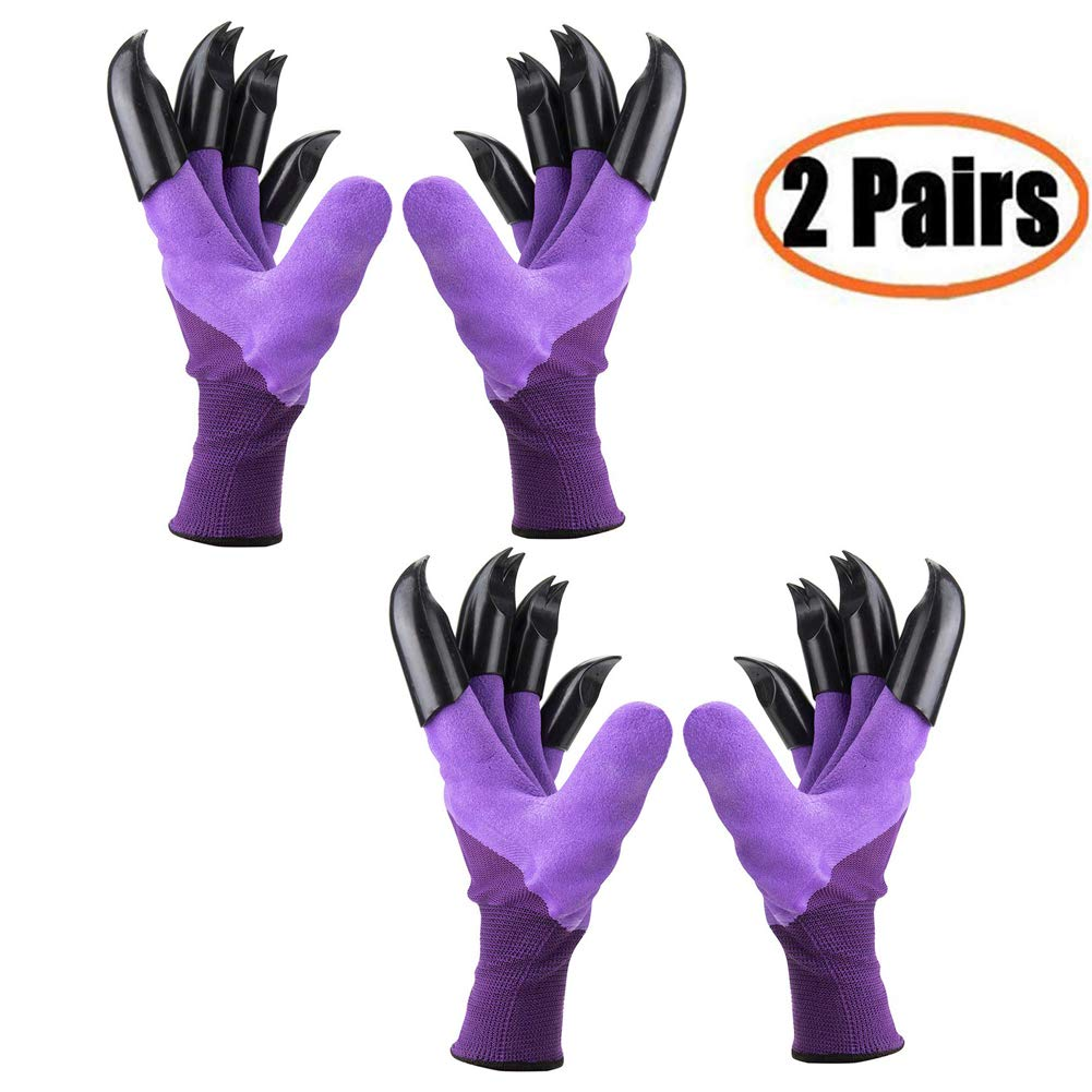 Claws Garden Gloves Women(2019 Upgrade), Waterproof and Breathable Garden Gloves for Digging Planting, Best Gardener Gifts (Purple Claw 2 Pairs)