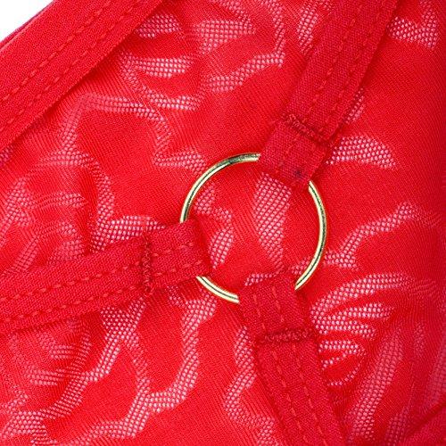 Jiayiqi Mujer De Encaje Hueco Hacia Fuera De La Ropa Interior Abierta De Nuevo Jaula Tanga Pantys Blanco + rojo + azul