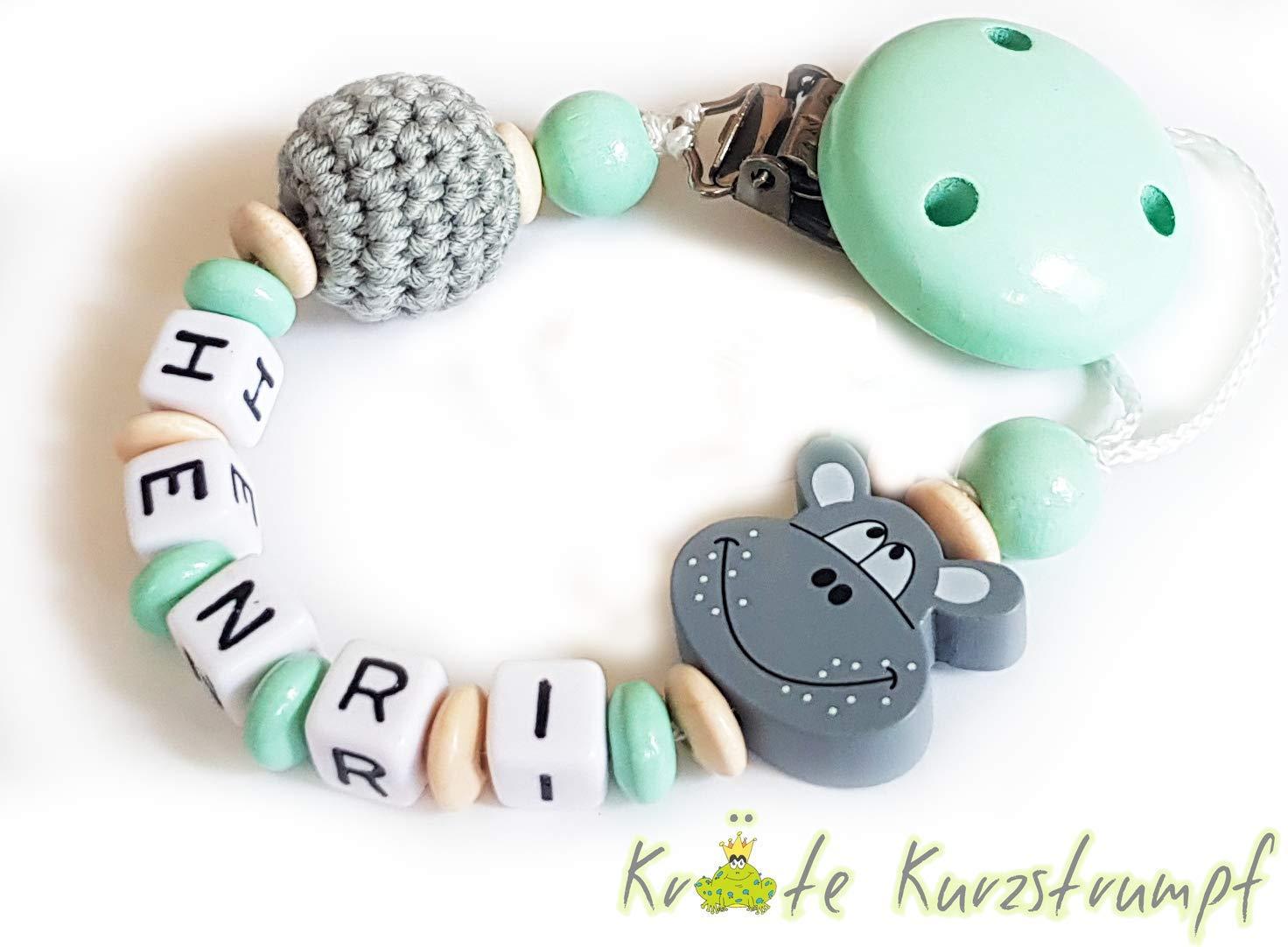 mint grau und natur Schnullerkette mit Name f/ür Jungen oder M/ädchen mit Hippo und H/äkelperle