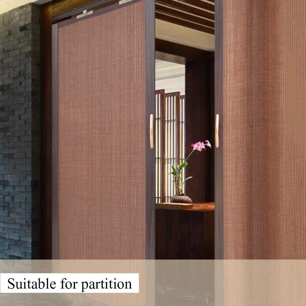 Jcnfa-Roller Cortina de bambú plegable puerta corredera doble izquierda y derecha partición cortina cocina dormitorio balcón parasol alta tasa de sombreado, bambú, marrón oscuro, W80cm XH120cm: Amazon.es: Hogar