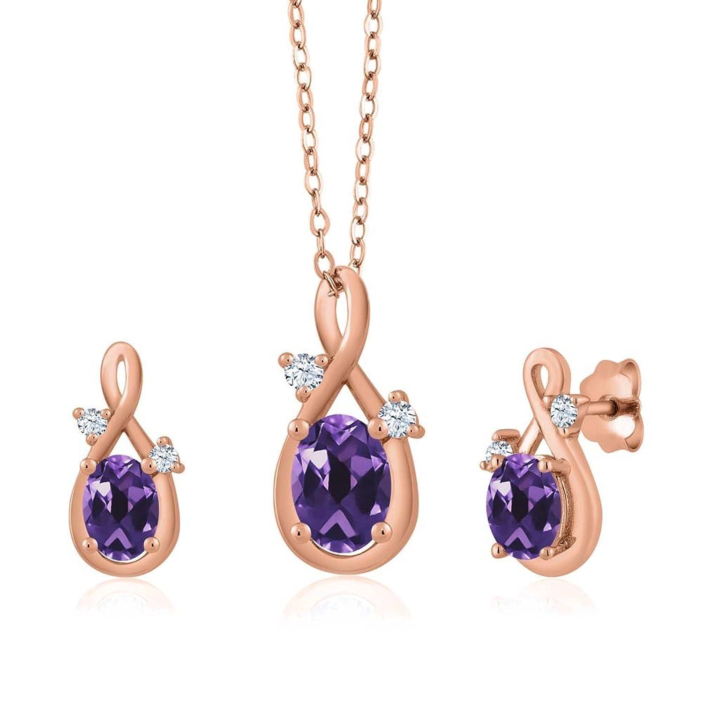 1.54 Ct Oval Purple Amethyst 18K Rose Gold Pendant Earrings Set