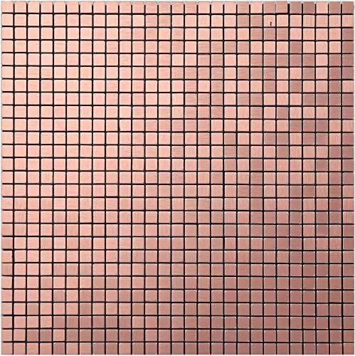 Peel and Stick Backsplash Metal Decorative Tile for Kitchen Wall- LSA1 (Box of 10.76 sq ft) (A21, Rose gold)