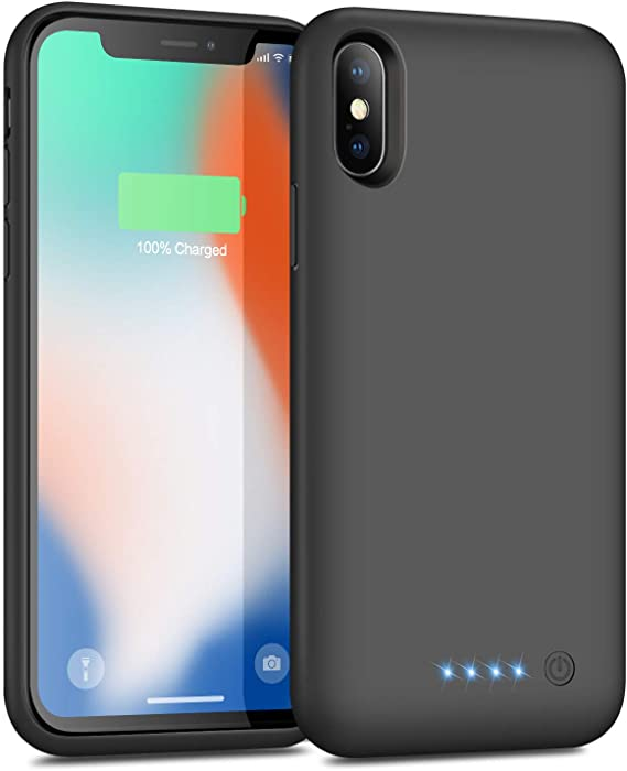 VOOE Battery Case for iPhone X/XS/ 10, Portable Battery Pack 6500mAh Rechargeable Charging Case Smart Battery Case for iPhone X/XS/ 10 External Battery Cover 5.8 inch Charging Case - Black