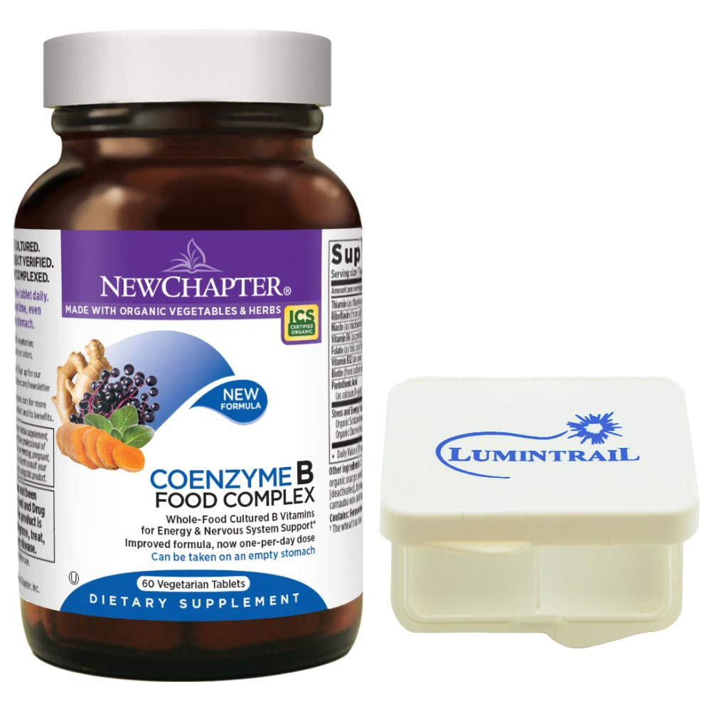 New Chapter Vitamin B Complex - Coenzyme B Food Complex with Vitamin B12 + B6 - Whole-Food - 60 Vegetarian Tablets Bundle with a Lumintrail Pill Case