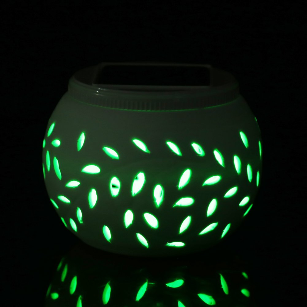 Outdoor Lighting, TechCode [Ceramics] Solar Color Changing Wall Light Solar Lantern Table Lights Decoration Lamp For Garden,Outdoor Lawn,Yard,Path,Patio,Party & Festival Decorations/Great Gift(S Size)