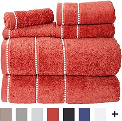 Bedford Home Quick Dry 100Percent Cotton Zero Twist 6Piece Towel Set