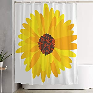 Starocle Shower Curtain Detail Gerbera Garden Plant Daisy Tile Yellow Isolated Floral Flower Chamomile Tablecloth Objects Waterproof Polyester Fabric Bathroom Decor Sets with Hooks 72x72 Inch