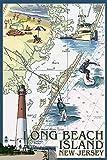 Long Beach Island, New Jersey - Nautical Chart (12x18 Art Print, Wall Decor Travel Poster)